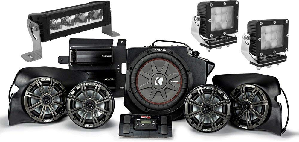 """Kicker Bundle of 4 Items 44PRZ35 5-Speaker Polaris RZR System with 10"""" Compact LED Light Bar and Two 5-1/2"""" Heavy Duty Work Light"""