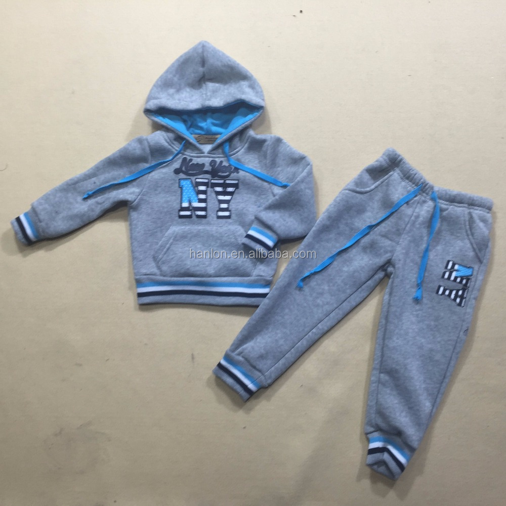 Contrast color jersey hoodie pullover and pants NY printed babies fleece suit
