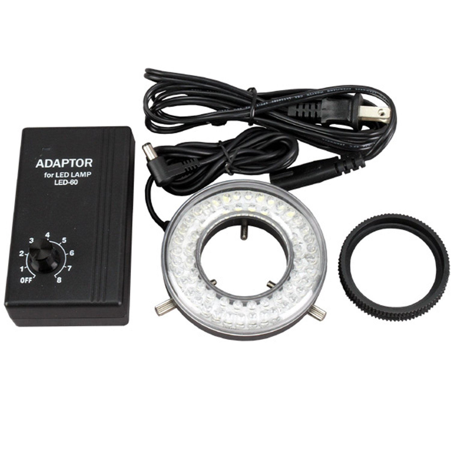 AmScope LED-60 60-LED Microscope Ring Light Illuminator with Control Box and Adapter