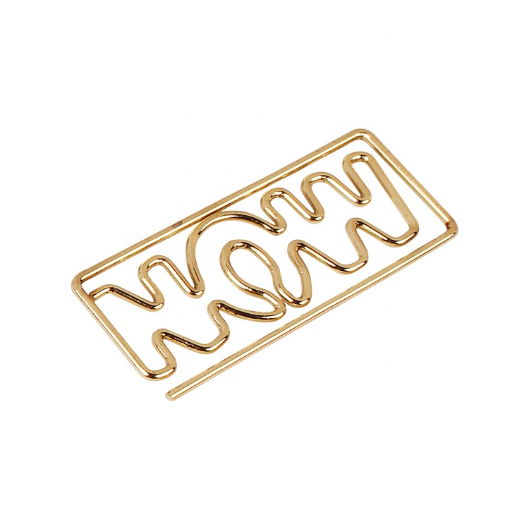 Promotional gifts gold color letter shape paper clips custom own style alphabet paper clip