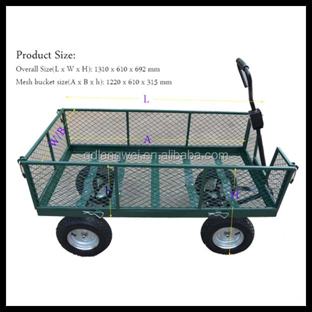 High quality durable Four wheel garden yard folding pull hand cart