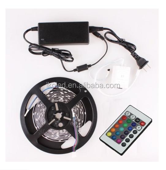 brand new and best quality 5M RGB 3528 Flexible Waterproof 300 Led Strip Light +24 Keys IR Remote controller+power adaptor
