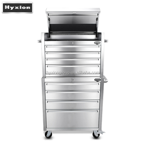 Heavy duty full stainless steel tool box up chest with down cabinet 8 drawers