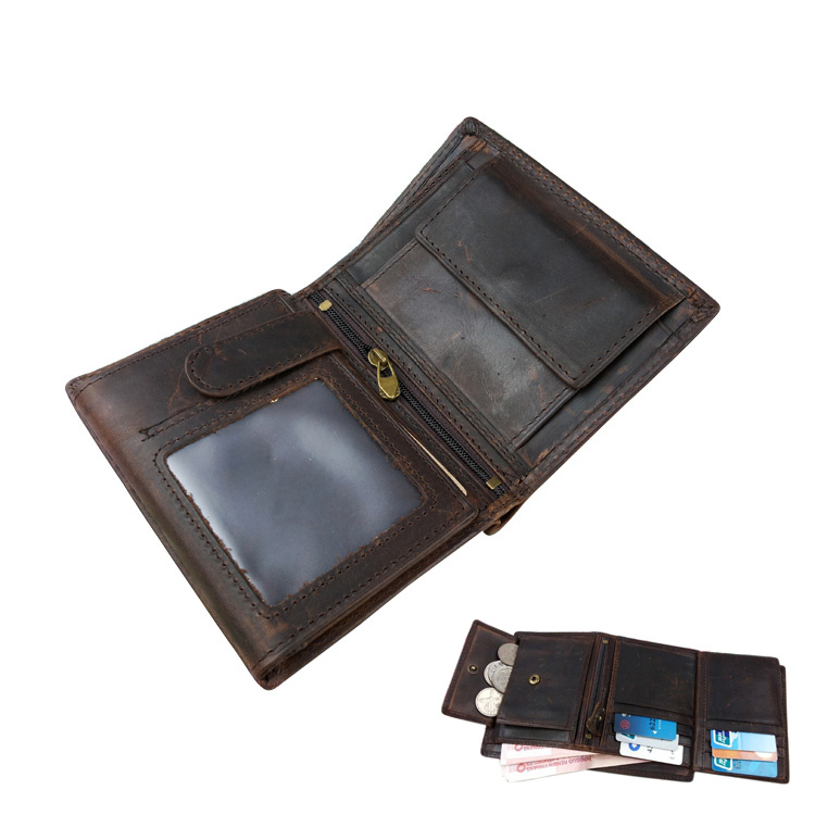 100% Vintage Oil Wax Cowhide Men Wallet Genuine Leather Trifold Zipper 2014 Men's Wallets Credit Card Holder Money Coin Purse