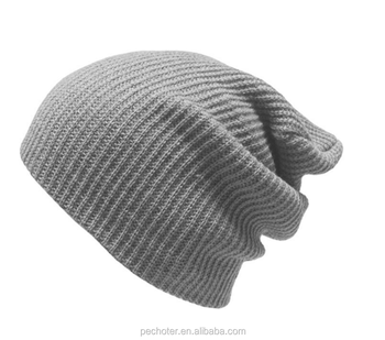 Vintage Men Baggy Beanie Slouchy Knit Skull Grey Cap Hat - Buy ... 60ecb32b132
