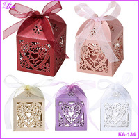 Wedding party Favor Ribbon Love Heart Laser Cut Candy Gift Boxes