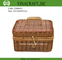 Small wicker box set of 3/Vintage storage trunk