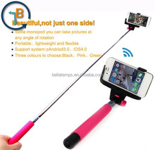 wireless mobile phone monopod, selfie stick with bluetooth shutter button