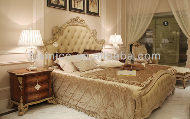 quality design 8c4d7 6237f Latest Design Royal Style Wooden Twin Bed With Big Headboard Covered By  Leather In Beige Color - Buy Wooden Double Bed With Hand Carving,Nostalgic  ...