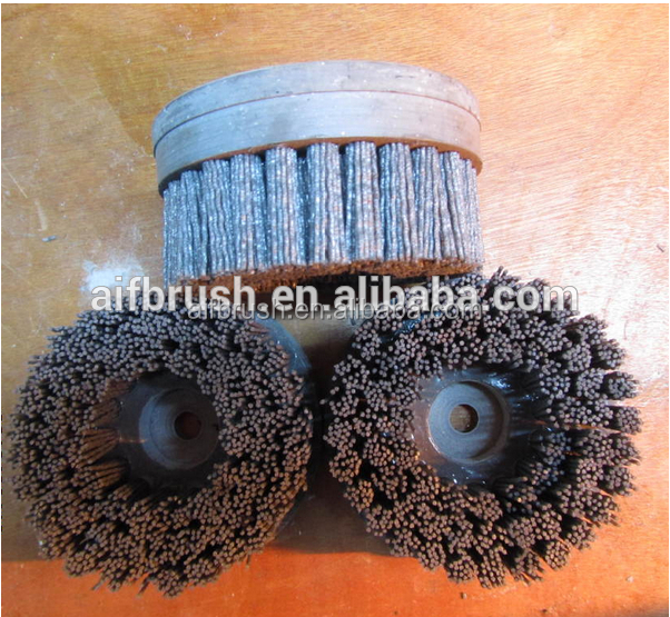 polish abrasive disc brush with wood hole