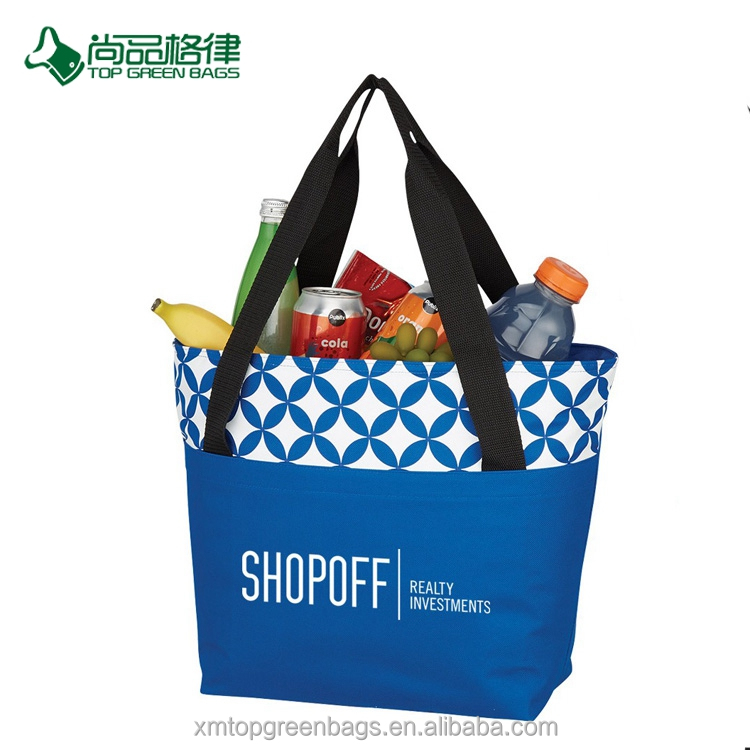 Customize Economical Polyester Large Front Pocket Zippered Cooler Tote Bag