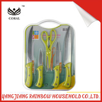 Selling well plastic handle sharp blade knives&scissors&cutting board