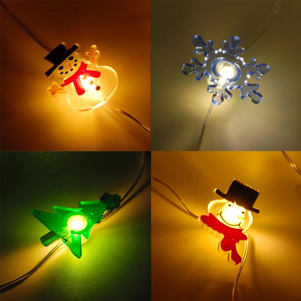 6.5 Ft 20L Mini LED X'Mas (Christmas) String Light Assorted (6-Pack) Battery Powered - 3 Different Snowman, Christmas Tree, Snowflake, Candy Cane