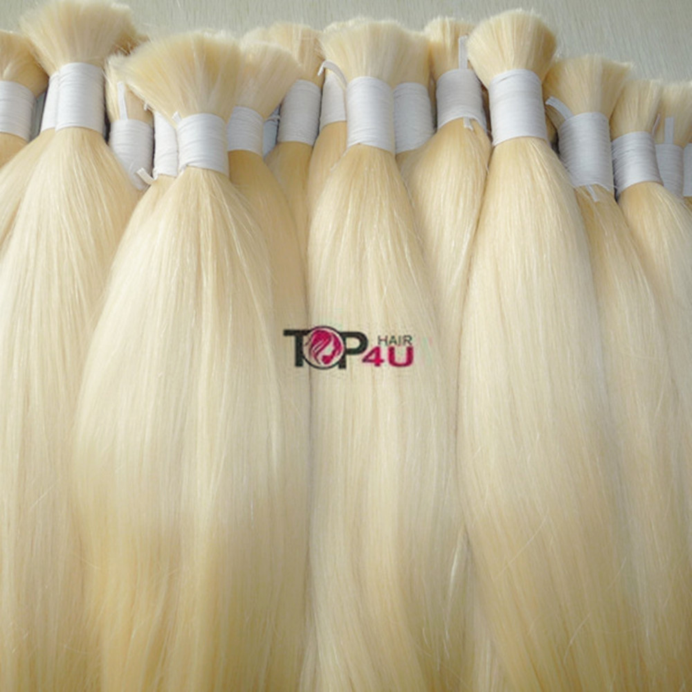 Hot new products for 2015 100% full cuticle Russian platinum blonde human hair extension braiding