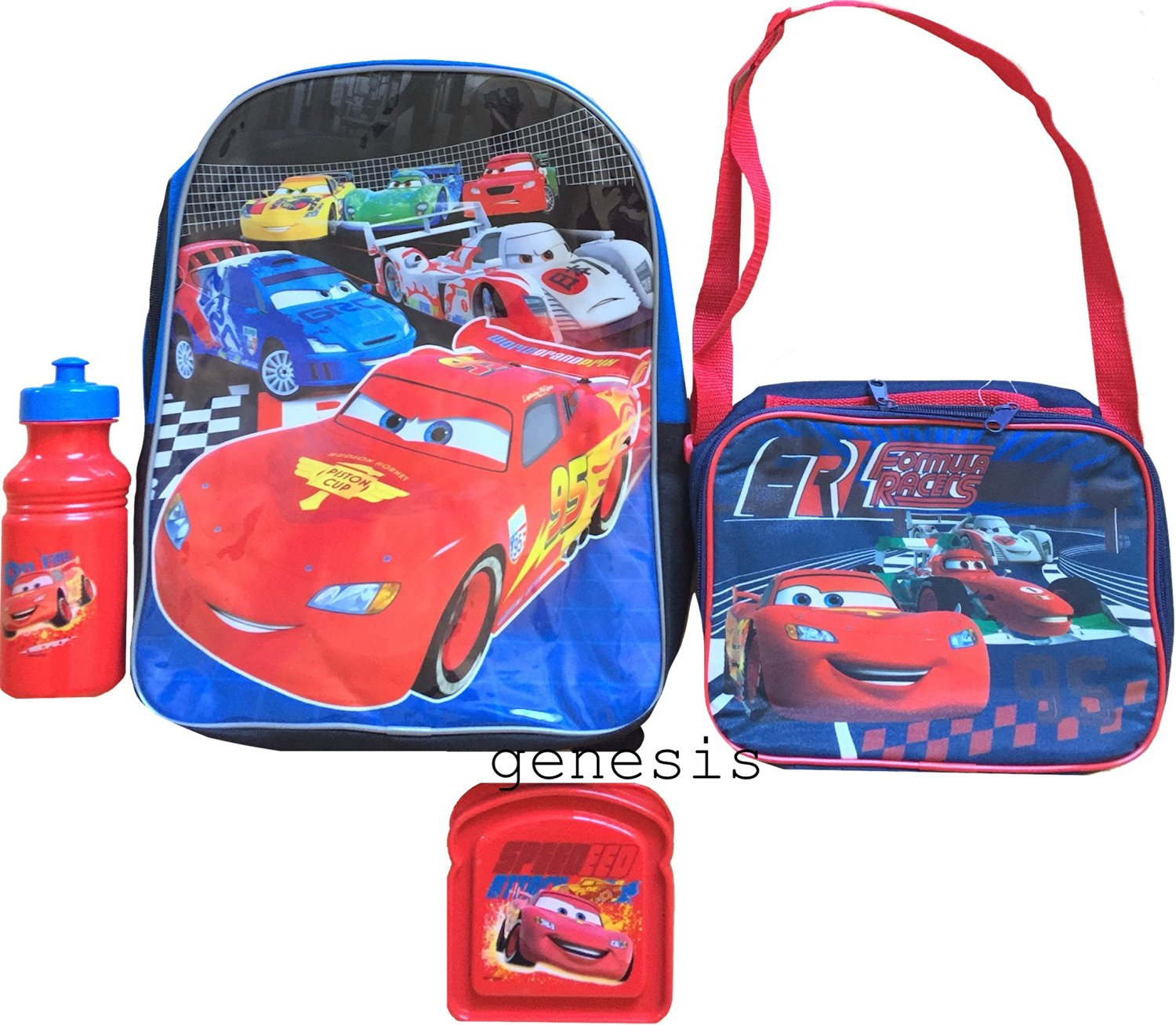 Disney Cars Lunch Kit Cars Backpack With Shoulder Strap Lunch Box, Sandwich Container & Bottle
