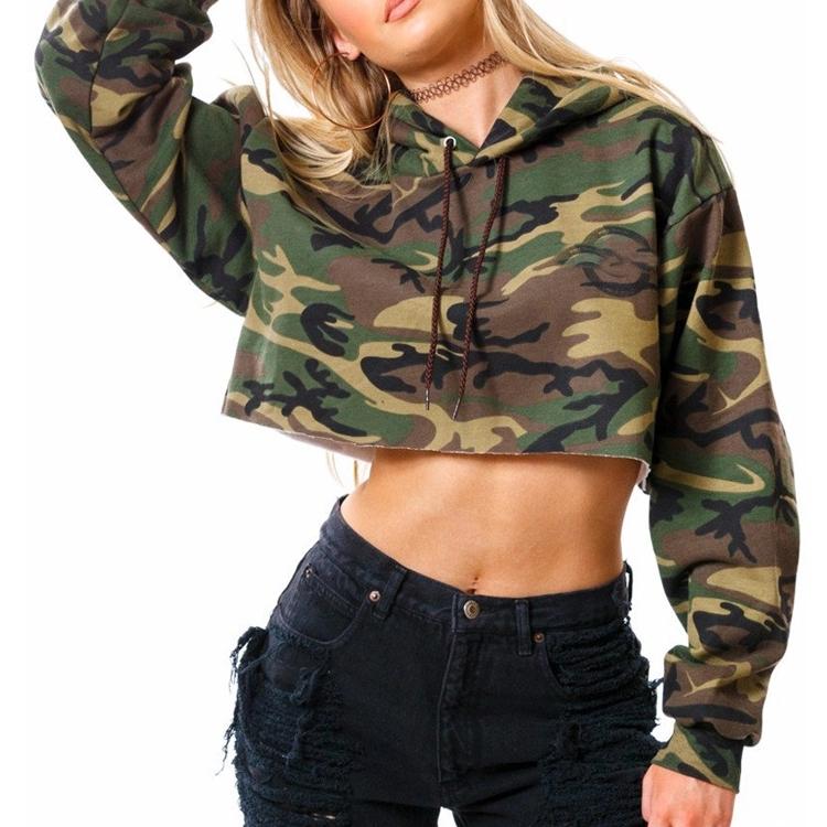 ffb4d477e643f9 army green hoodies wholesale high quality cropped sweat tops plain camo  crops sweatshirts ladies