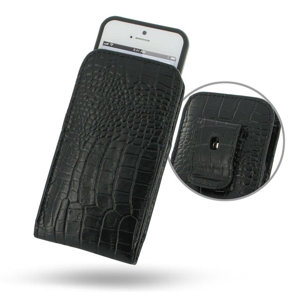 8dd47225cec04 Get Quotations · iPhone5 Leather Case in Bumper - Vertical Pouch Type with  Belt Clips (Black Crocodile Pattern