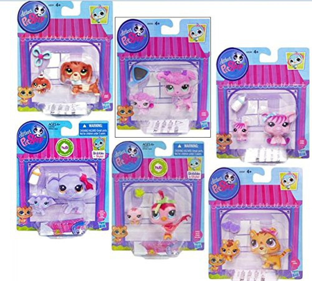 Littlest Pet Shop Figures Baby and Mommy Orange Tiger & Baby Tiger #3593 & #3594, Pig and Baby Pig #3595 & #3596, Elephant and Baby Elephant #3597 & #3598, Poodle & Baby Poodle #3599 & #3600, Dachshund and Baby Dachshund #3601 & #3602, Bird and Baby Bird #3603 & #3604 - Complete Set - Bundle