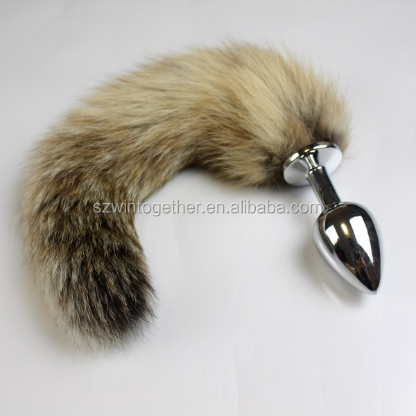 Stainless steel metal anal plug with fake foxtail