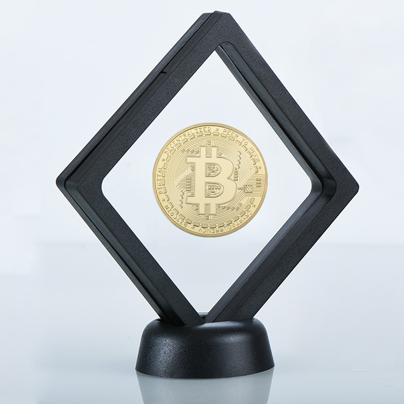 2018 24K Gold Bitcoin Coin with Display Frame 999 Collectible Bit Coin Hobby Gifts