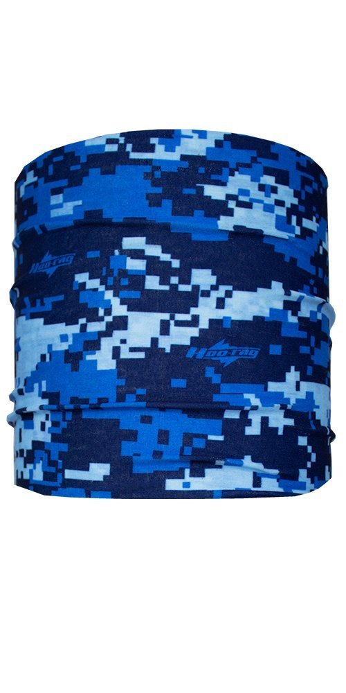 Woodlands Digital Camo Half Hoo Bandana by Hoo-rag® - Seamless UPF 30 High Performance Moisture Wicking Neck Cover Made of 100% Polyester Microfiber - Provides Sun & Wind Protection When Hiking, Camping & Doing Other Outdoor Activities