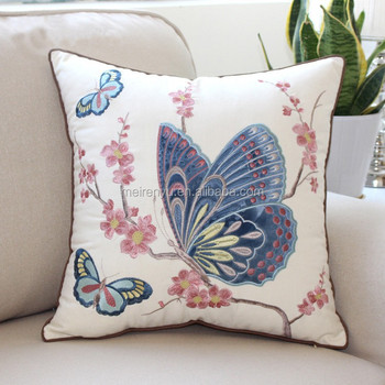 2015 Machine Embroidery Designs Cushion Cover With Blue Betterfly
