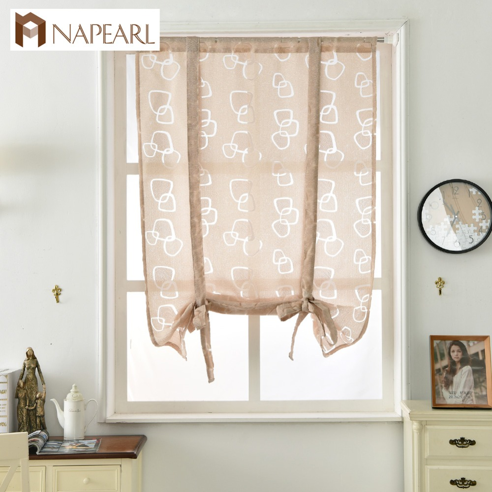 Napearl cocina cortinas cortas moda persianas romanas Jacquard de ...