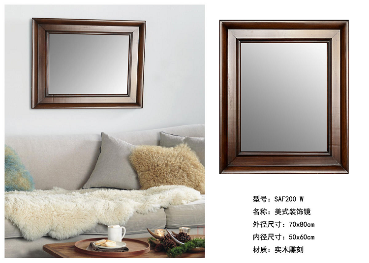 Hand Paint Finish Decorative Solid Wood Carving Wall Mirror Frame ...