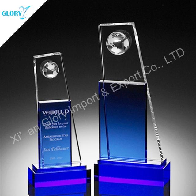 New Blue Cube Plaque Crystal Award