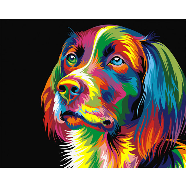 Wholesale painting by numbers <strong>pictures</strong> for still life dog head shape, hot style painting by numbers canvas dog/Animal oil paint