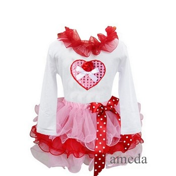 Girl Red Light Pink Petal Tutu with Bling Heart Rose White Long Sleeves Tee 1-7Y