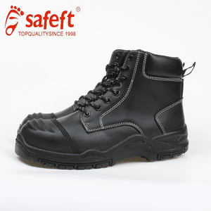 PPE genuine leather black rhino steel toe safety shoes manufacturers