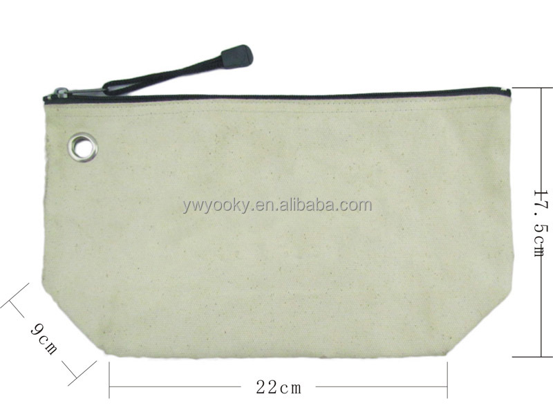 Simple flat zipper closure white blank small custom cotton pouch