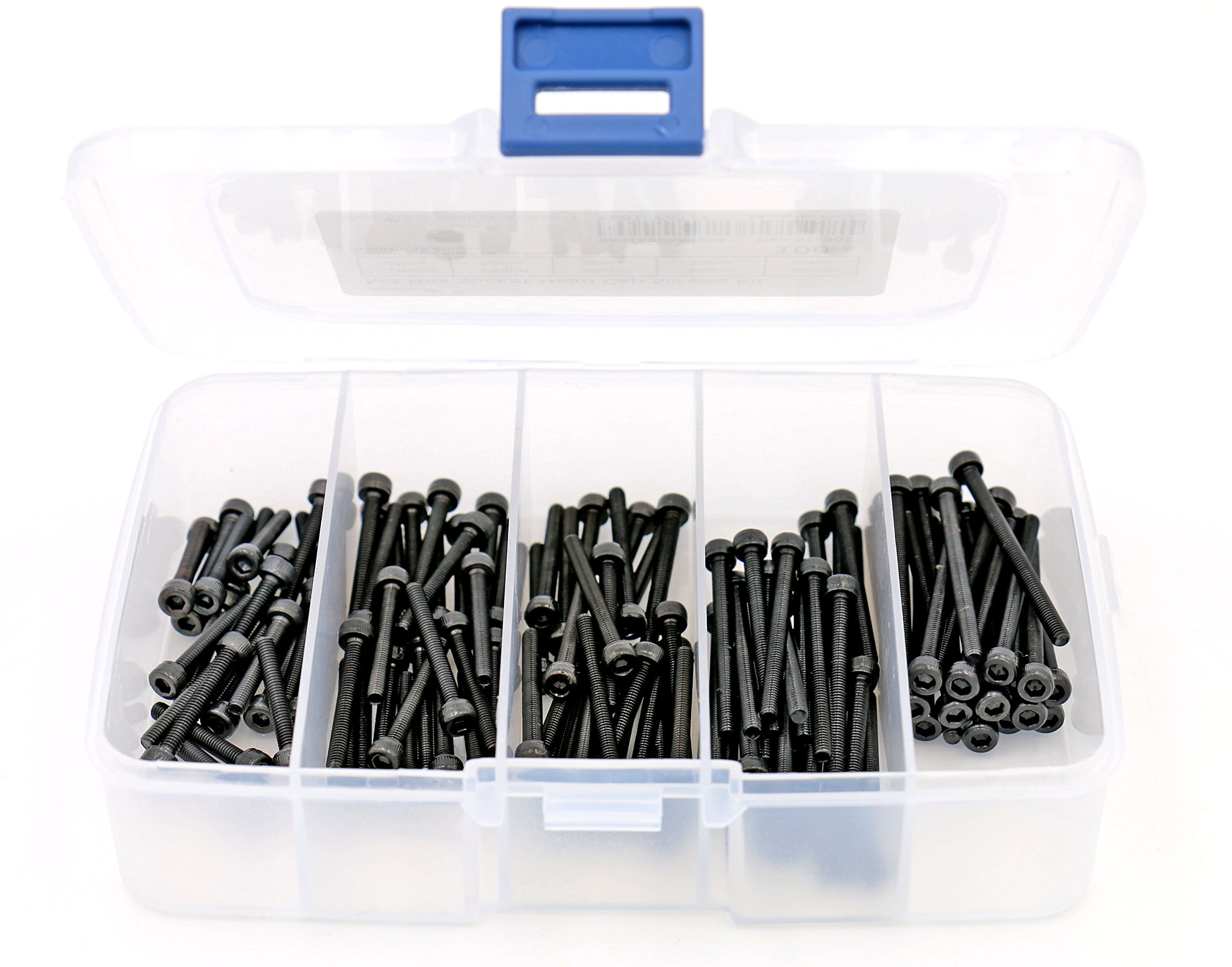 iExcell 100 Pcs 5 Sizes Assortment M3 x 20mm/25mm/30mm/35mm/40mm Hex Socket Head Cap Screws Kit, Alloy Steel Black Oxide Finish, 12.9 Grade, Fully Threaded