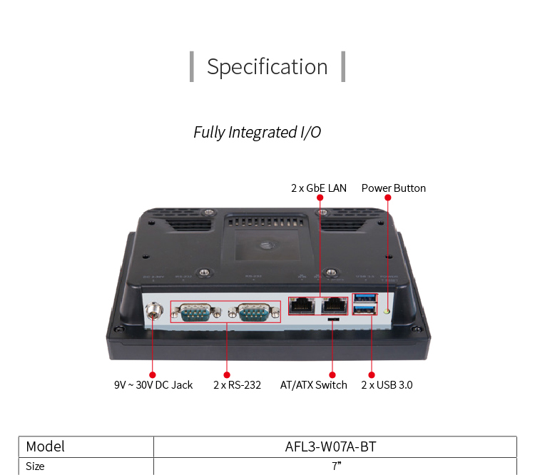 "IEI AFL3-W07A-BT 7"" IP64 compliant front panel fanless all in one  PC with Intel Celeron N2807"