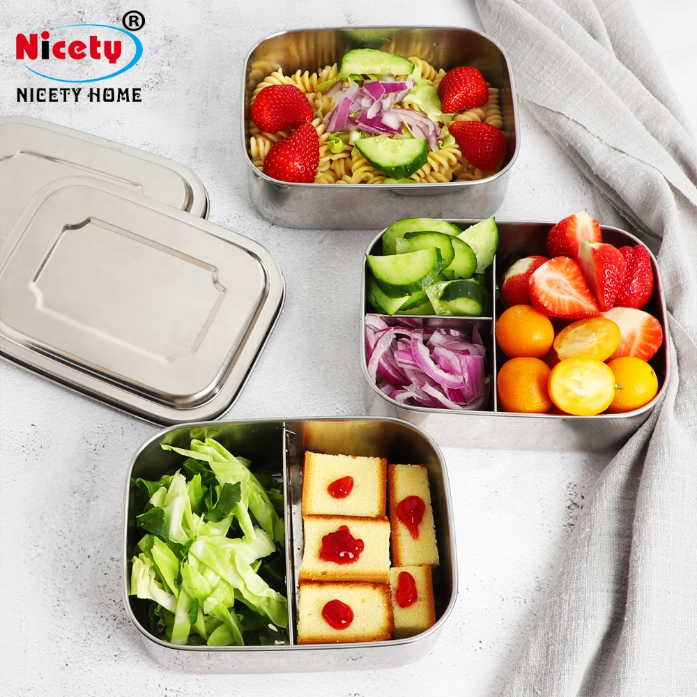 New design BPA Free FDA LFGB approved large rectangular stainless steel 3 compartments lunch box, Stainless steel true color