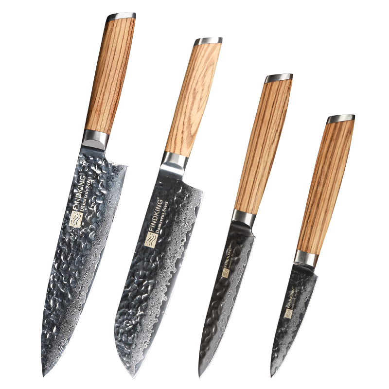 FINDKING zebra wooden handle damascus knives set 4 pcs 8inch chef 7 inch santoku 5inch utility 3inch fruit knife 67 layers