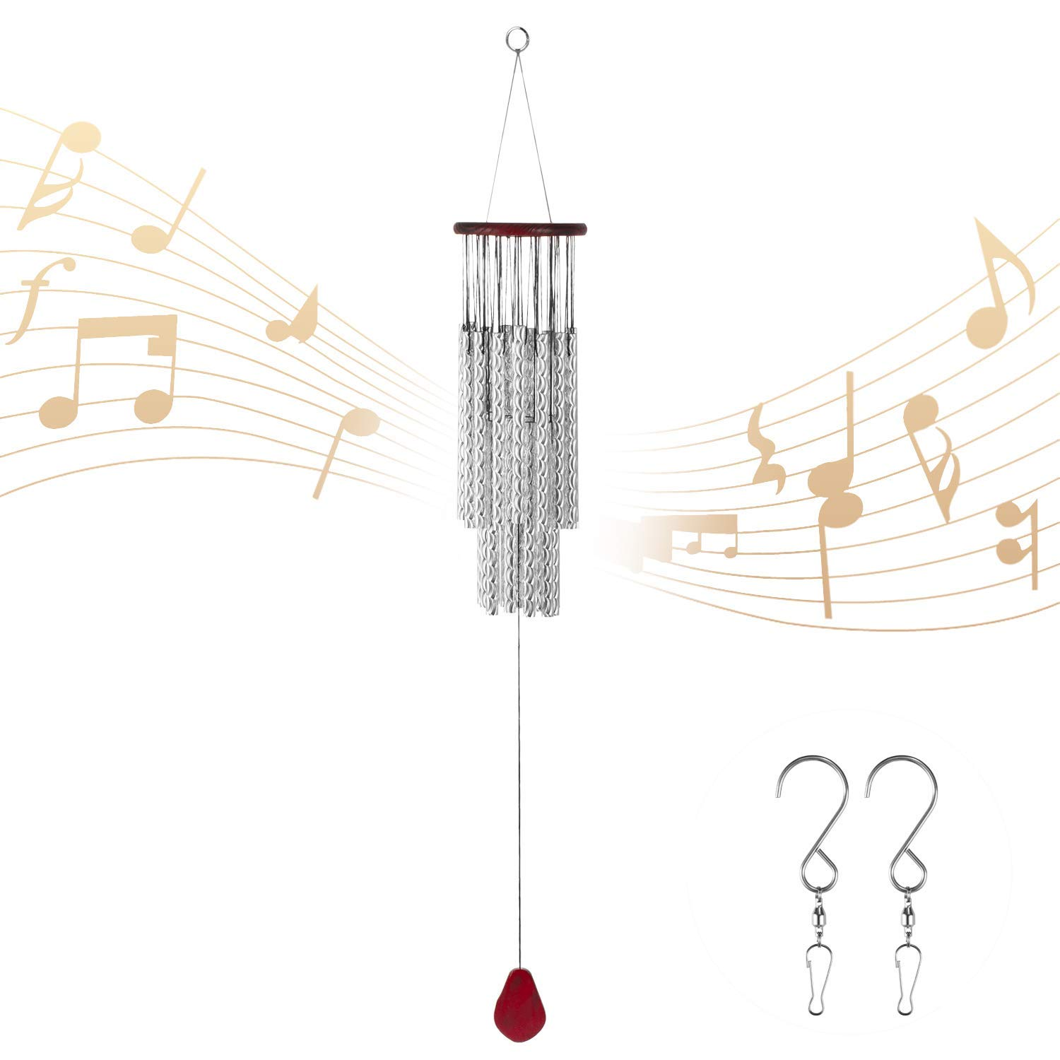 occer Wind Chimes 27 Silver Tubes Large Memorial Wind Chime Outdoor Amazing Grace,Musical Wind Bell with 2 Hook Choice,Decor for Garden,Porch,Balcony,& Indoor