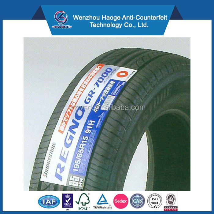 Customized high quality vulcanization tyre label & self adhesive car tyre label
