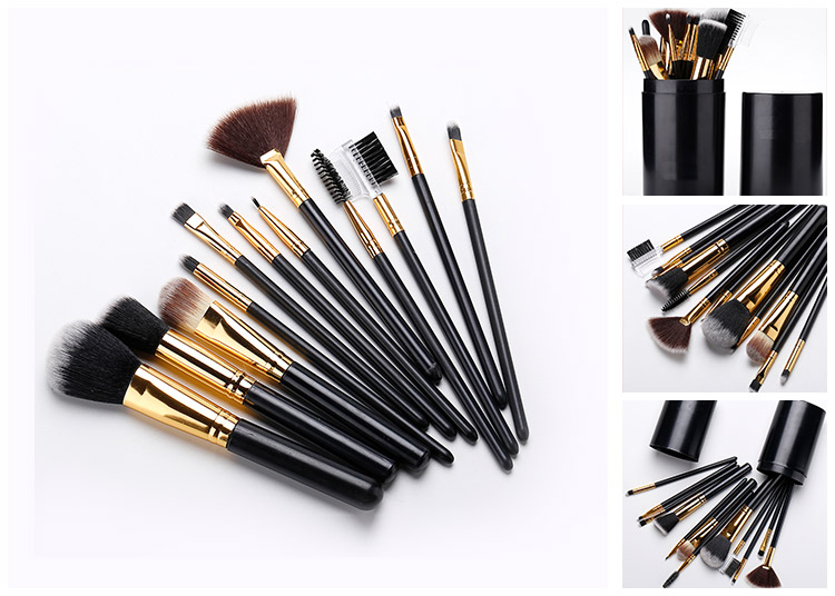 12pcs Black Makeup Brushes for Eyes Shadow Double Eye Shadow Cosmetic Brush