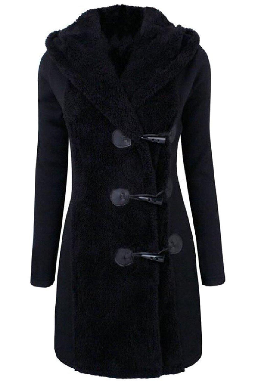 Sheng Xi Womens Stitching Hoodie Fleece Button Down Slim Fit Woolen Overcoat