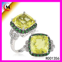 Latest Jewellery Models Forevermore Diamond Rings Peridot Gemstone Silver Ring For Women Rings