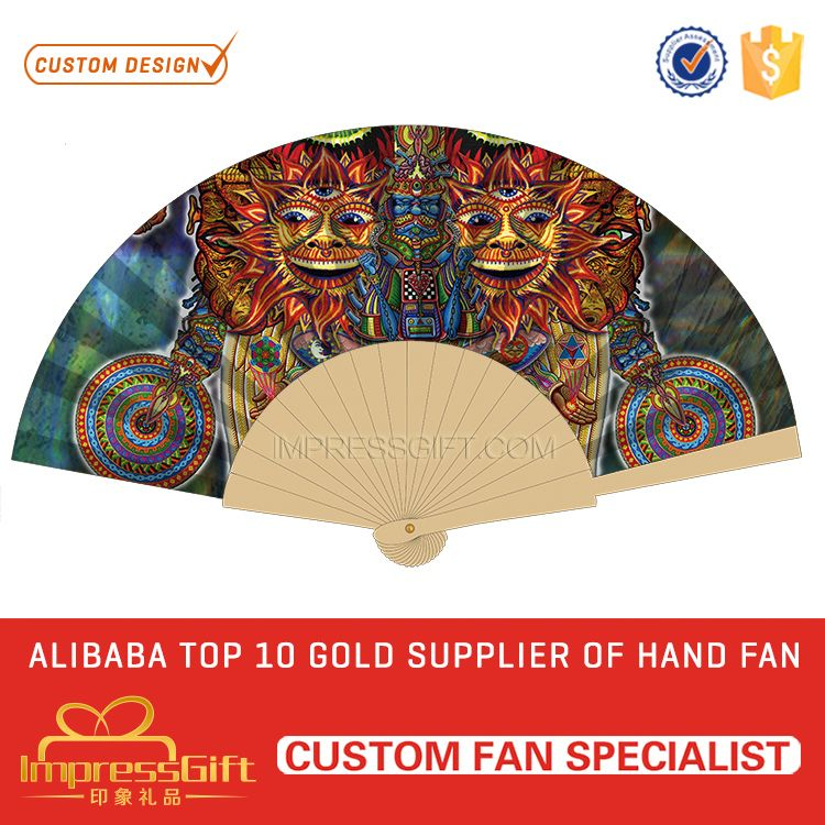 Custom design craft wooden hand fans for weddings for brand promotion
