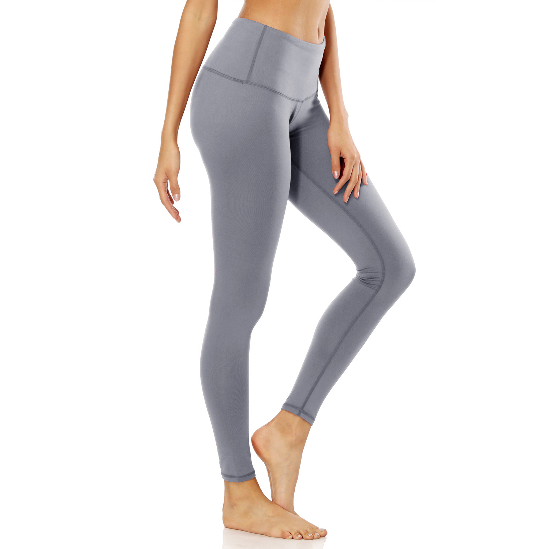 f8dc3c3d39 Gray OEM High Waist Lycra Cotton Elasticity Plain Yoga Leggings With Pocket  Pants Custom Logo USA/EU Size XXL