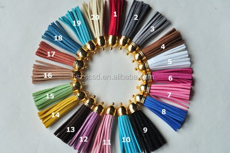 Quality top sell up wholesale leather tassels for handbag