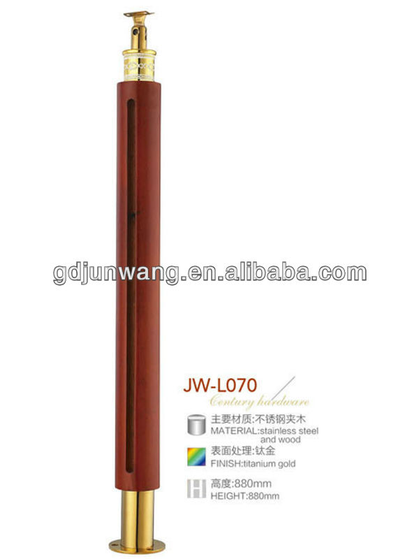 Round wood stair railings with tempered glass JW-L070