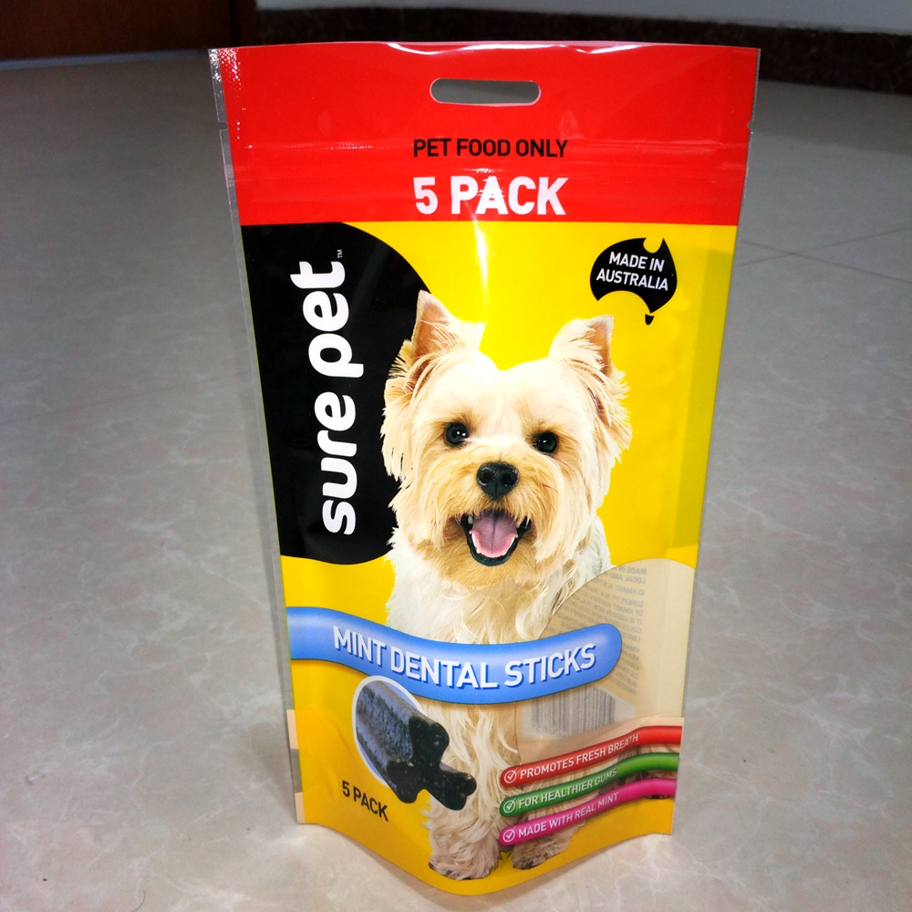 Stand up pouch with zipper and hole for dog food pet food packaging