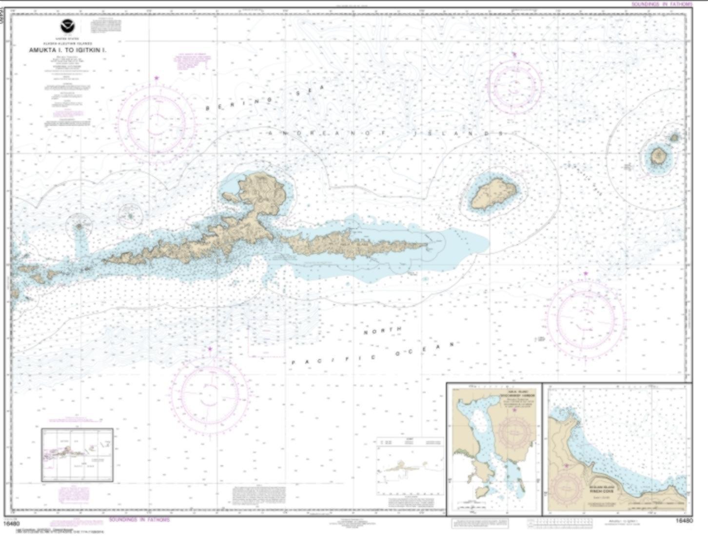 NOAA Chart 16480-Amkta Island to Igitkin Island; Finch Cove Seguam Island; Sviechnikof Harbor, Amilia Island