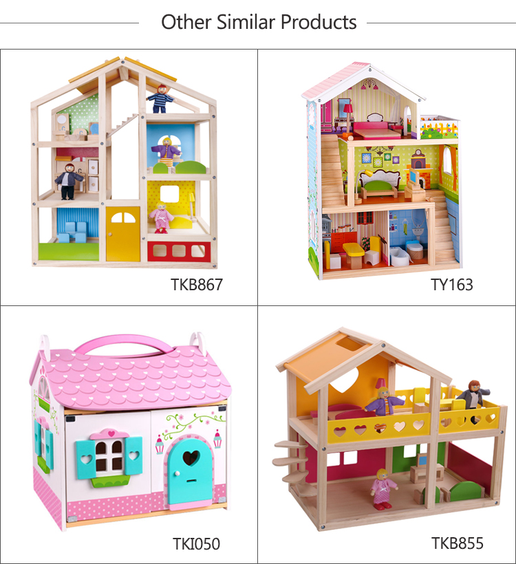 Happy family house bed kids baby big furniture toys wooden doll house