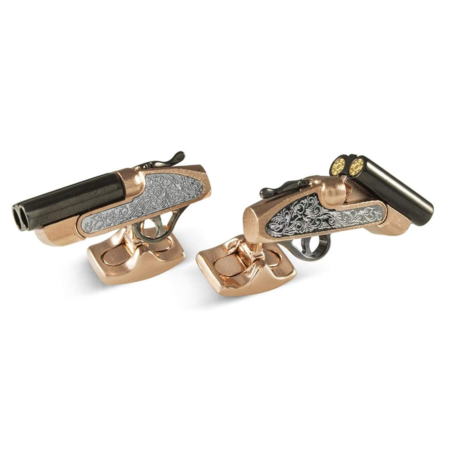 Deakin & Francis UK Rose Gold Plated and Sterling Silver Moving Shotgun Cufflinks